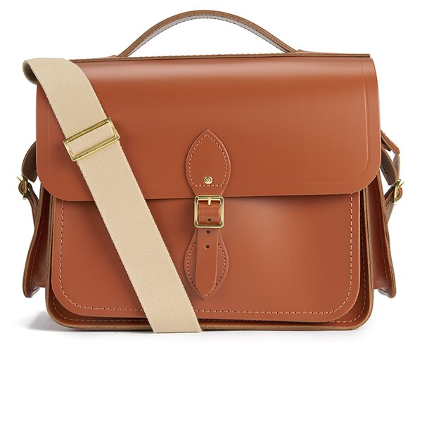 The Cambridge Satchel Company Men's Large Cartridge Bag with Side Pockets - Russet
