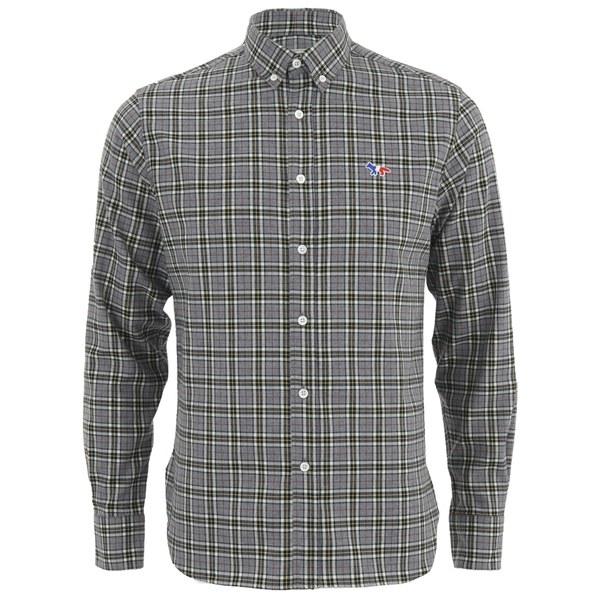 Maison Kitsuné Men's Check Classic Shirt with Embroidered Fox - Grey Melange