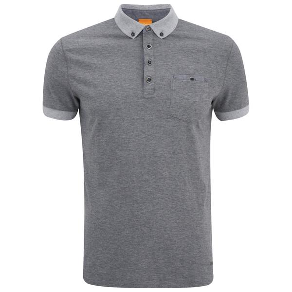 Boss orange men 39 s patches 1 button down polo shirt grey for Mens grey button down dress shirt