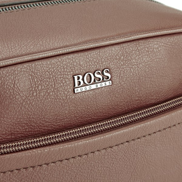 BOSS Hugo Boss Men s Monte Leather Washbag - Tan  Image 3 d28ac366cdbdd
