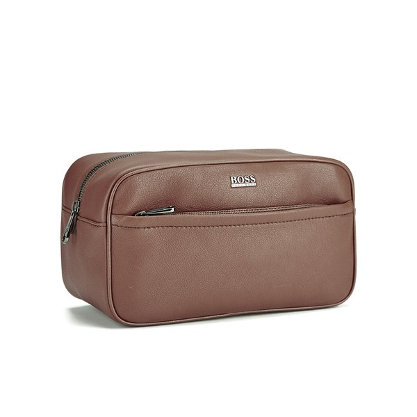 BOSS Hugo Boss Men s Monte Leather Washbag - Tan  Image 2 021bf6ff1c48d