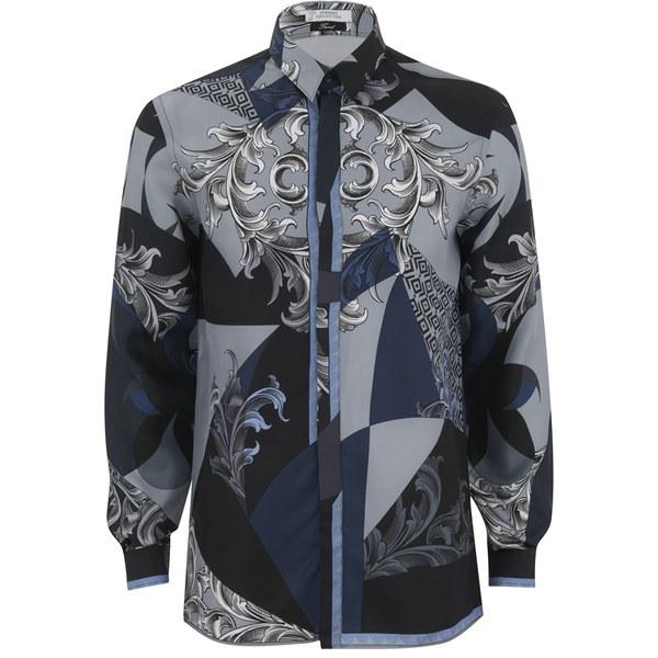 Mens Versace Style Silk Shirt