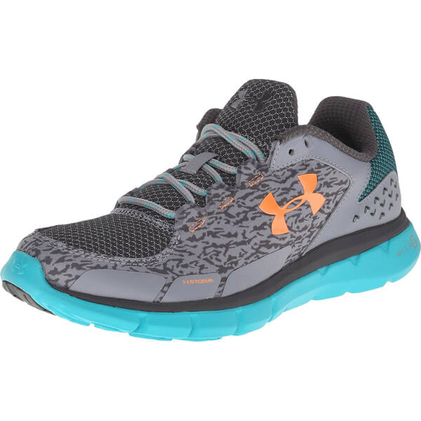 Under Armour Women s Micro G Velocity RN Storm Running Shoes - Steel  Neptune Orange  a43b3a1e77075