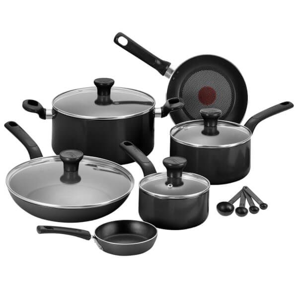 tefal excite 7 piece pan set black iwoot. Black Bedroom Furniture Sets. Home Design Ideas