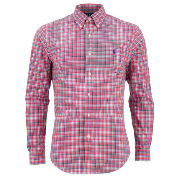Polo Ralph Lauren Men's Slim Fit Checked Long Sleeve Shirt - Cerise/Blue:  Image