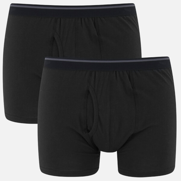 Wolsey Men's Twin Pack Keyhole Boxer Shorts - Black
