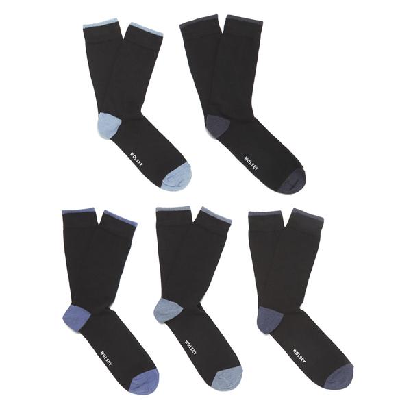 Wolsey Men's 5 Pack Heel and Toe Design Socks - Blue