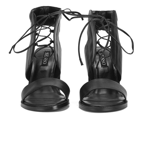 9c2de478a30 Senso Women s Valleri VI Leather Lace-up Heeled Sandals - Ebony  Image 4