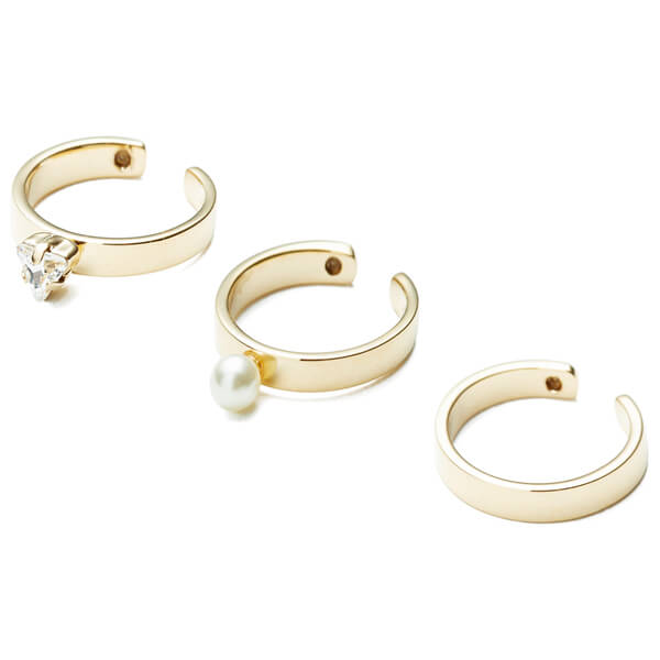 Maria Francesca Pepe Women's Bullet and Pearl Midi Ring Set - Gold