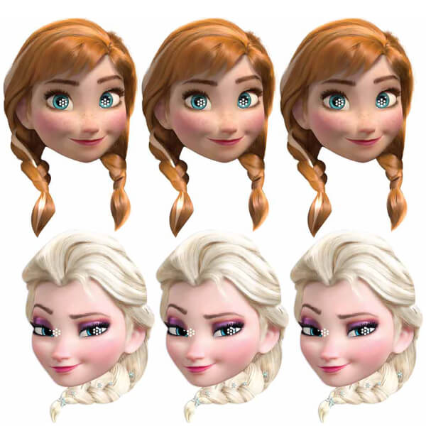Disney Frozen 3 Anna and 3 Elsa Masks (6 Pack)