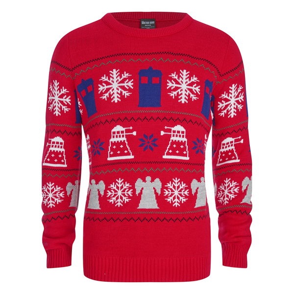 Doctor Who Dalek Snowflake Christmas Jumper - Red