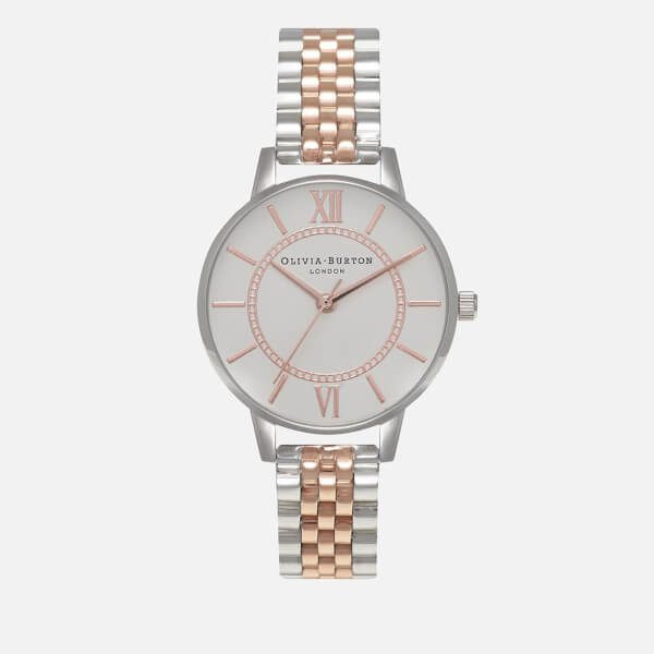Olivia Burton Women's Wonderland Mix Bracelet Watch - Silver/Rose Gold