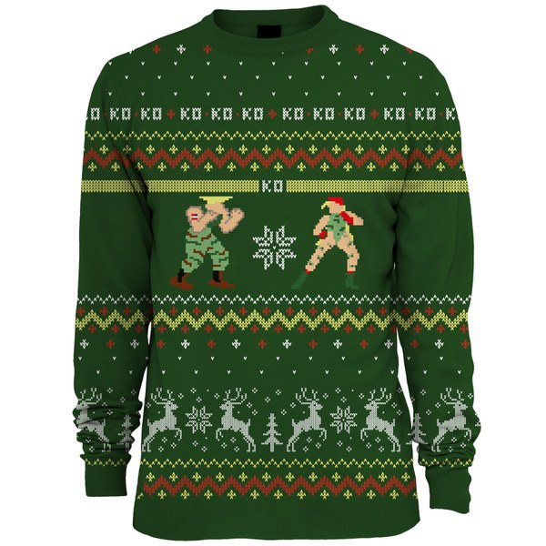 Capcom Street Fighter Guile Vs. Cammy Knitted Christmas Jumper - Green