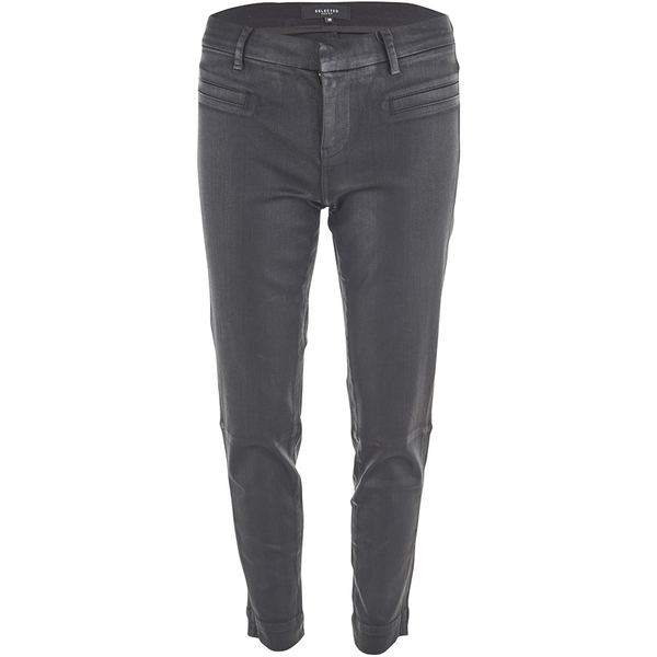Selected Femme Women's Glossy Cropped Pants - Black