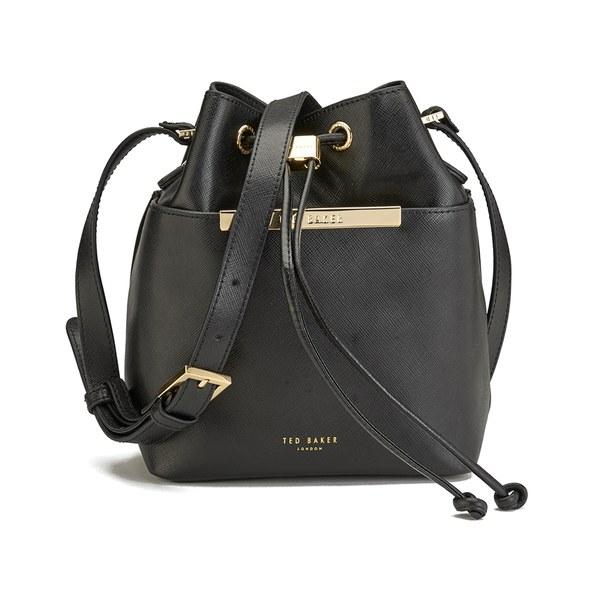 Womens black leather bucket bag