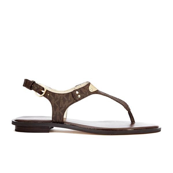 b6cd839ec306 MICHAEL MICHAEL KORS Women s MK Plate Thong Flat Sandals - Brown  Image 1