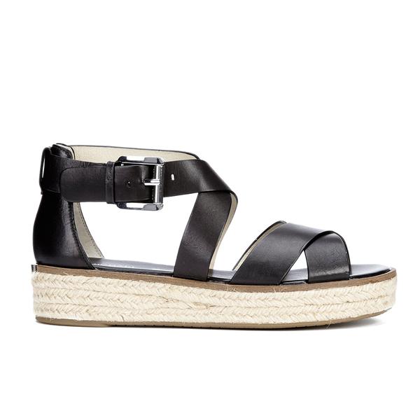 b8073401e31b MICHAEL MICHAEL KORS Women s Darby Leather Espadrille Flatform Sandals -  Black  Image 1