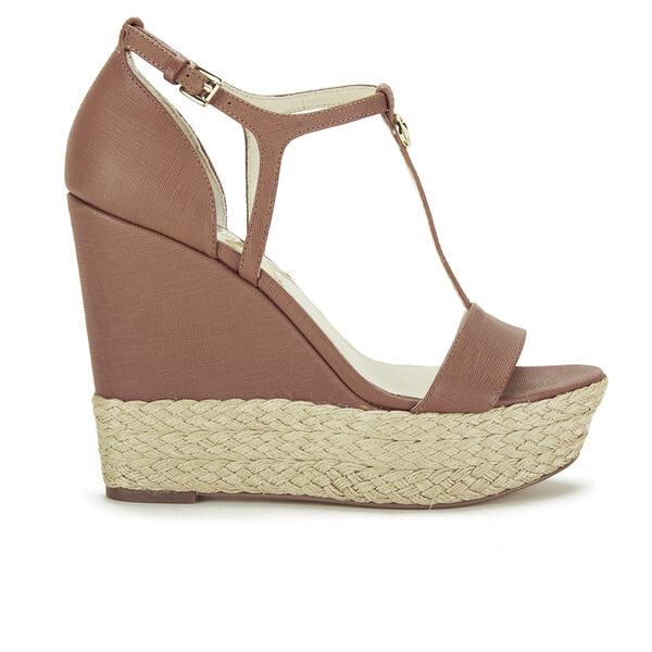 3443009375d2 MICHAEL MICHAEL KORS Women s Kerri Leather Wedged Sandals - Luggage  Image 1