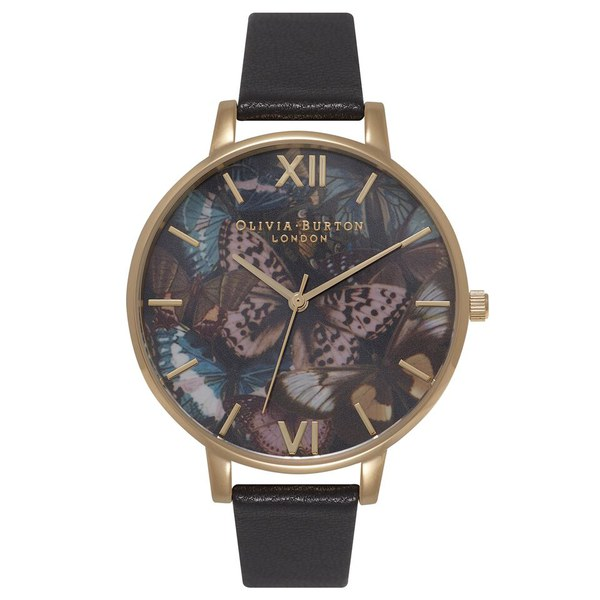 Olivia Burton Women's Woodland Multi Butterfly Watch Black & Gold