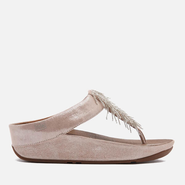 FitFlop Women's Cha Cha Leather/Suede Tassel Toe-Post Sandals - Silver
