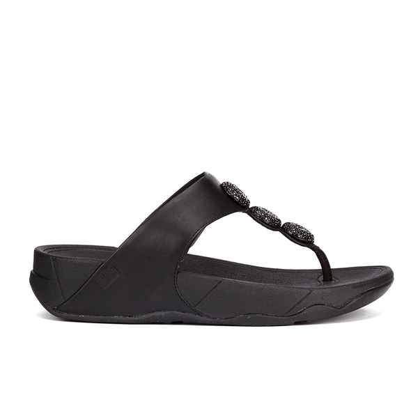 89e93f367dc223 FitFlop Women s Petra Sugar Leather Toe Post Sandals - All Black  Image 1