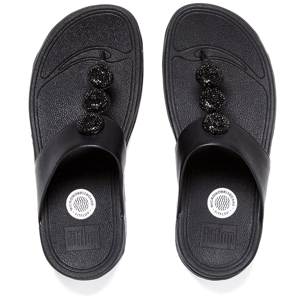 284926a7ad8 FitFlop Women s Petra Sugar Leather Toe Post Sandals - All Black  Image 5