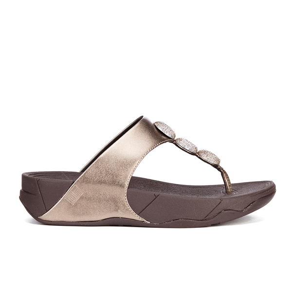5f6f3fb58 FitFlop Women s Petra Sugar Leather Toe Post Sandals - Bronze