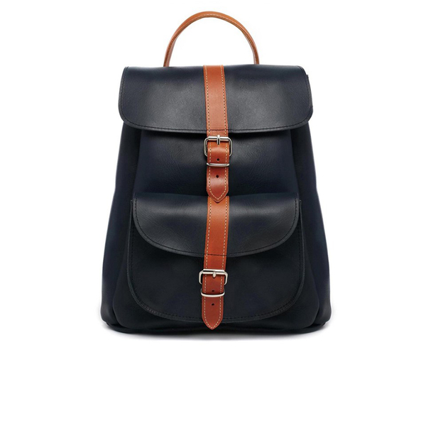 Grafea Navy and Tan Leather Backpack - Navy - Free UK Delivery ...