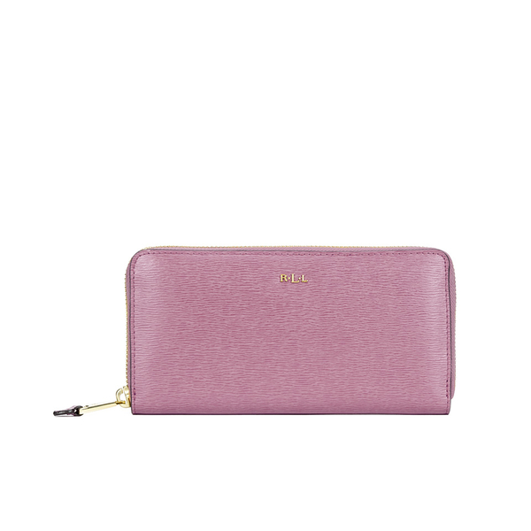 Lauren Ralph Lauren Women'S Tate Leather Zip Wallet - Deco Rose/Cocoa