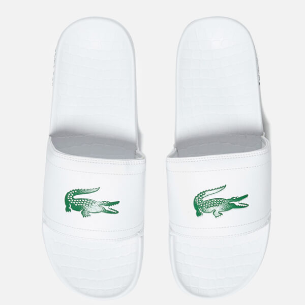 37bfb528401e Lacoste Men s Frasier Slide Sandals - White Green