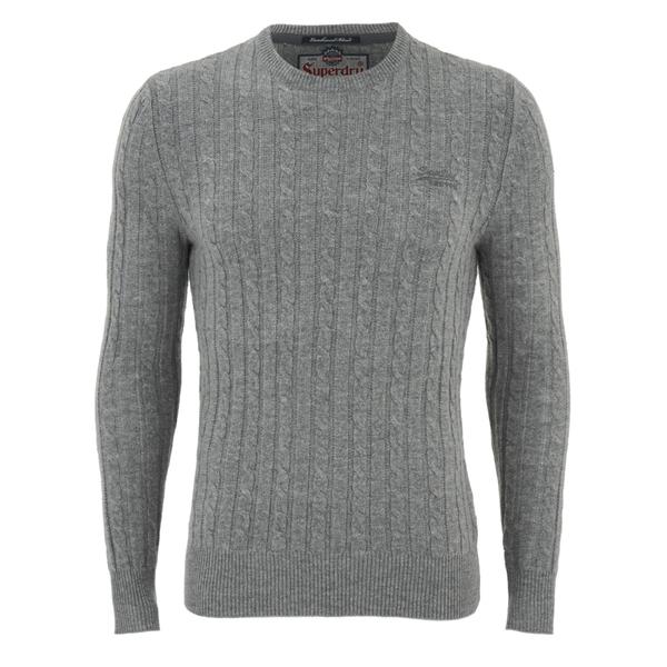 130f98ad12d Superdry Men s Harrow Cable Knit Jumper - Grey Mens Clothing ...