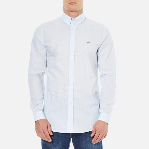 Lacoste Men's Long Sleeve Gingham City Shirt - Sky Blue