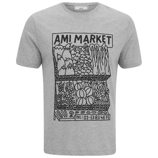AMI Men's Market Print T-Shirt - Heather Grey