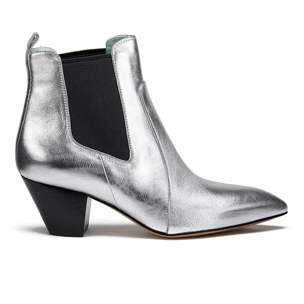 Marc Jacobs Women's Kim Metallic Leather Heeled Chelsea Boots - Silver