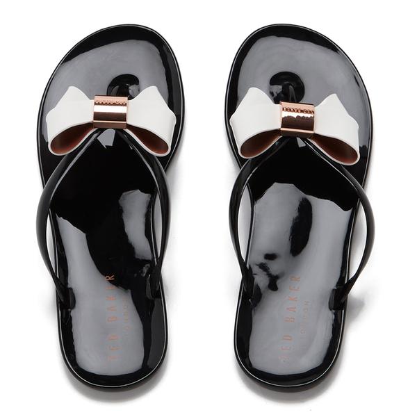 Ted Baker Women's Ettiea Jelly Bow Flip Flops - Black/Cream