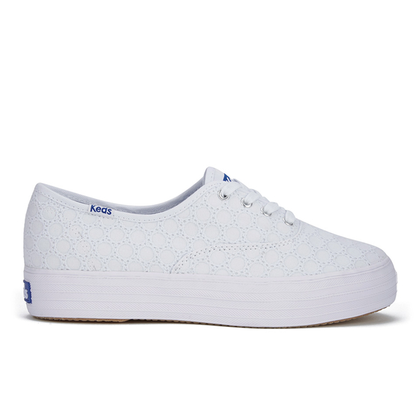 Keds Women's Triple Eyelet Flatform Trainers - White