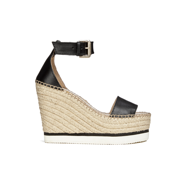 See By Chloé Women's Leather Espadrille Wedged Sandals - Black
