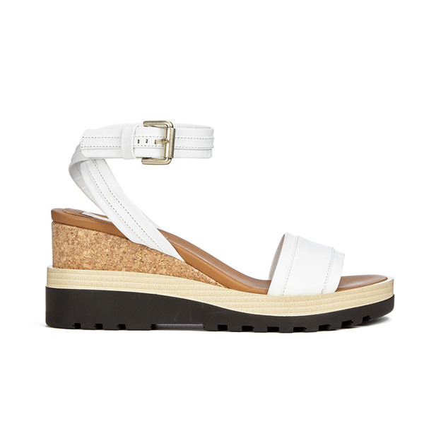 See by Chloe Women's Leather Wedged Sandals - White