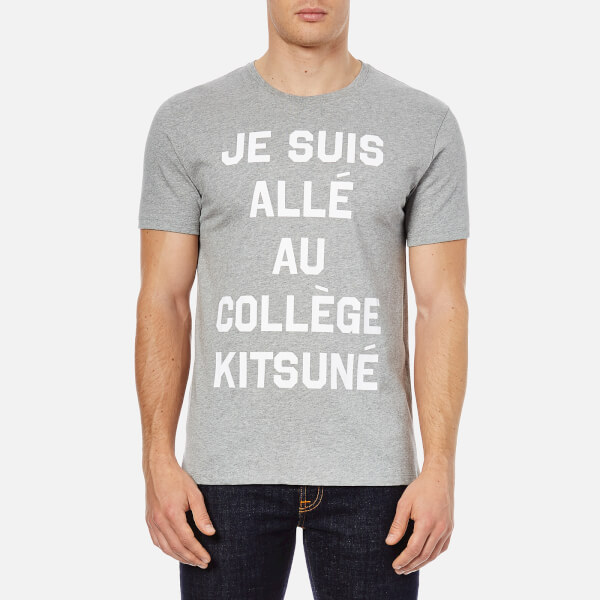 maison kitsun men 39 s je suis alle t shirt grey melange free uk delivery over 50. Black Bedroom Furniture Sets. Home Design Ideas