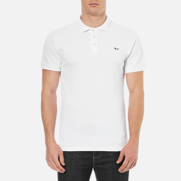 Maison Kitsuné Men's Tricolor Fox Polo Shirt - White