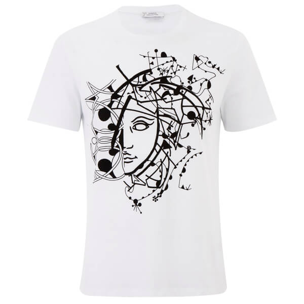 Versace Collection Men s Abstract Medusa T-Shirt - White - Free UK ... e93fc7e7103