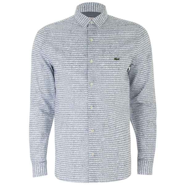 Lacoste Live Men's Poplin Long Sleeve Shirt - Blue