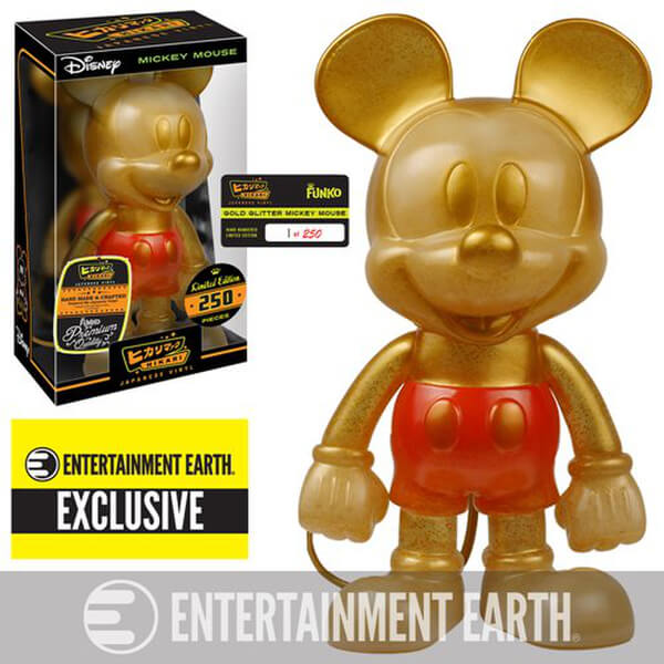 Disney Mickey Mouse Gold Glitter Hikari Sofubi Entertainment Earth Exclusive Vinyl Figure