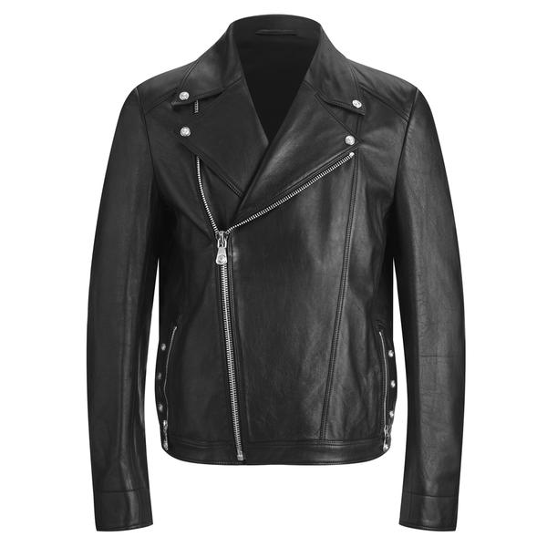 Versus Versace Men's Back Leather Biker Jacket - Black