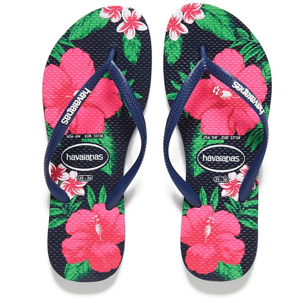93422c3969d Havaianas Women s Slim Floral Flip Flops - Navy Blue  Image 1