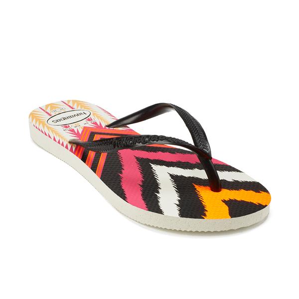 Havaianas Women's Slim Tribal Flip Flops White/Orange 39-40 M Bra 9ZIx0