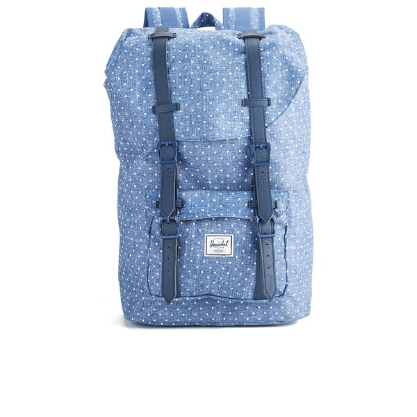 Herschel Women's Little America Mid-Volume Polka Dot Crosshatch Backpack - Light Blue