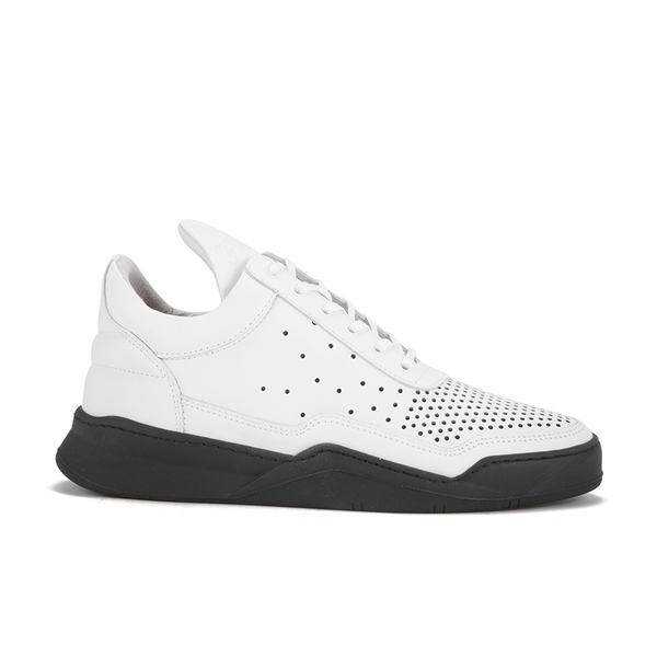 Filling Pieces Men's Gradient Perforated Low Top Suede Trainers - White