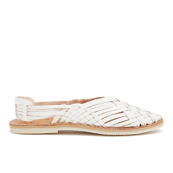 Chamula Women's Maria Sling Back Leather Sandals - White
