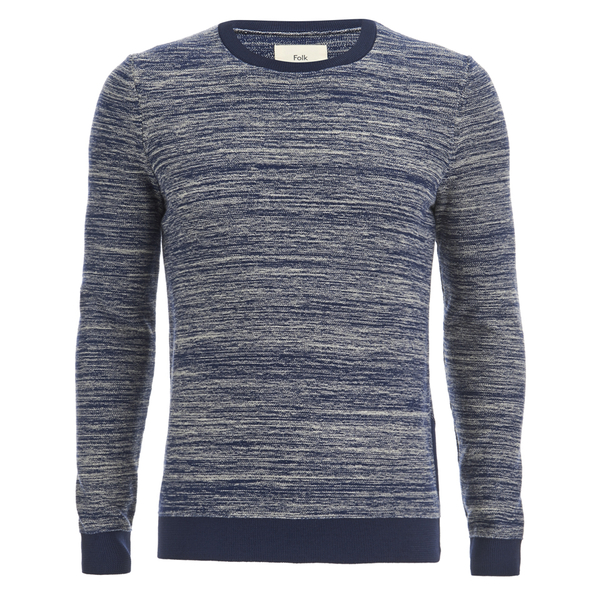 Folk Men's Crew Neck Knit Jumper - Ecru/Bright Navy